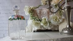 New to NostalgiqueBoutique on Etsy: Divine Vintage French Glass Perfume Bottle Decanter Painted Roses (29.99 GBP)