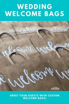 """Welcome your guests to your wedding or event with these welcome bags! Perfect to have at the hotel full of local goodies for out of town guests. These bags are kraft paper and approximately 8""""x10"""". Hotel Welcome Bags, Wedding Welcome Bags, Wedding Bag, Wedding Favor Bags, Wedding Favors For Guests, Summer Wedding, Country Club Wedding, Wedding In The Woods, Forest Wedding"""