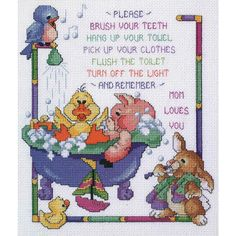 """Bath Time Rules Counted Cross Stitch Kit-10""""X12"""" 14 Count"""