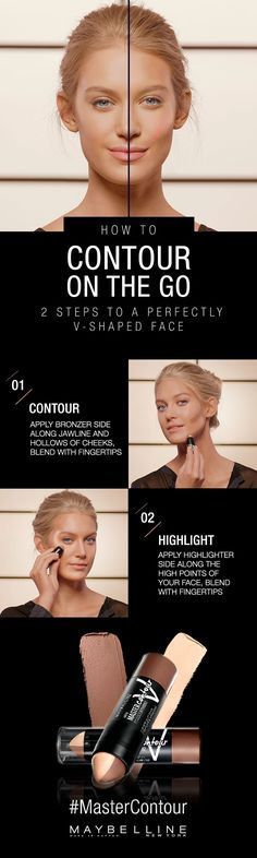 Contour on the go with Maybelline Master Contour V-Shape Duo Stick. Master the perfect v-shaped face with our easy to use contouring and highlighting duo. In two easy steps create the illusion of structure and lift. Click through for more how to`s to crea Beauty Make Up, Diy Beauty, Beauty Skin, Health And Beauty, Beauty Hacks, Contour Makeup, Contouring And Highlighting, Skin Makeup, Maybelline Master Contour