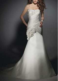 Elegant Satin Mermaid Strapless Neckline Wedding Dress