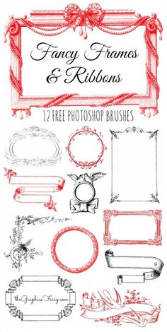 12 Free Photoshop Brushes - Fancy Frames and Ribbons!! Great for Valentine's Day or Weddings!