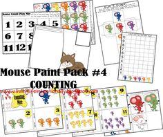 Mouse Paint Shapes, Numbers, colors and writing very cute
