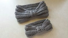 Crochet Mommy & Baby Matching Heather Gray Turbin Style Headbands Ear Warmer Headbands - pinned by pin4etsy.com