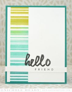 Hello Friend Card by Nichole Heady for Papertrey Ink (April 2014)