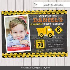 Construction chalkboard Birthday Invitation, Dump Truck Invitation, Invitation, invite, Party Invitation, Party decoration, Printable DIY on Etsy, $10.00