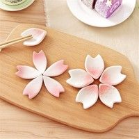 Wish | 1Pc Ceramic Sakura Petal Chopsticks Rack Novelty Fork Holder Tableware Decoration