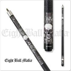Eight Ball Mafia Cues - Pool Cues - EBM02 - Skull Design with 8 Ball