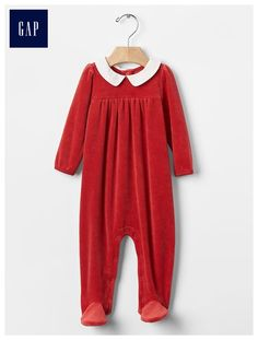 Velour footed one-piece