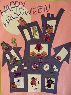 Halloween Craft-Haunted House Decorated With Halloween Stickers