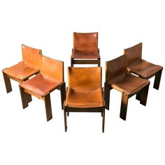 Set of Six Walnut and Saddle Leather 'Monk' Chairs by Afra & Tobia Scarpa for Molteni ca.1974, Italy