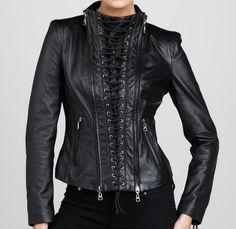 Women Leather Quilted Jacket New Genuine Lambskin Designer Stylist # GF 918 #Handmade #BasicJacket