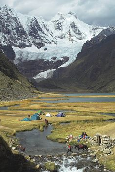 Jahuacocha campsite in Cordillera Huayhuash, Peru - photograph by Joost de Wall via It's a Beautiful World  #nomads