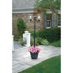 SUNergy 50408190 Madison Solar Lamp Post and Planter with 3 Solar ...