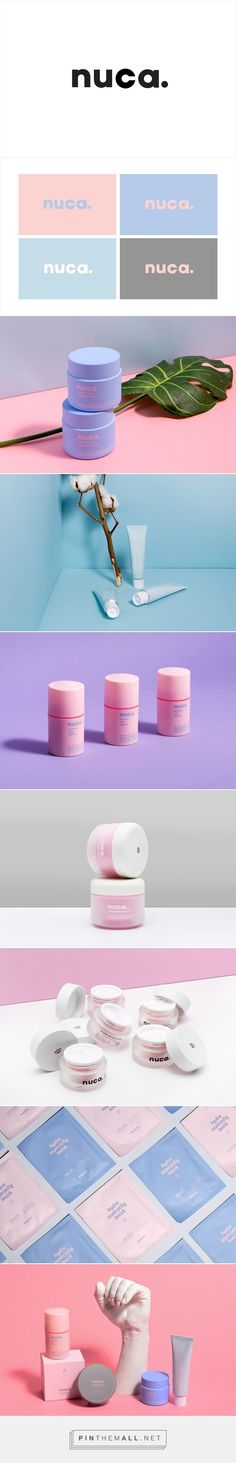 nuca Brand Design on Behance - created on Corporate Design, Brand Identity Design, Graphic Design Branding, Logo Design, Logo Branding, Brand Design, Beauty Packaging, Cosmetic Packaging, Brand Packaging