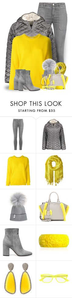 """""""Grey & Yellow Winter"""" by majezy ❤ liked on Polyvore featuring Current/Elliott, Steve Madden, Roseanna, Love Quotes Scarves, Fendi, Gianvito Rossi, Mariah Rovery, Christina Debs and McQ by Alexander McQueen"""