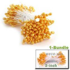 Pearl Stamen, Pistil Double End, 3mm, 1-Bundle, Light Orange
