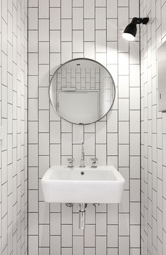 Clare Cousins Architects | Blackwood Street Bunker; vertical brick white subway tile