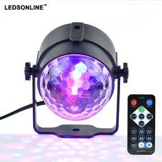 Mini RGB 3W Crystal Magic Ball Led Stage Lamp DJ KTV Disco Laser Light Party Lights Sound IR Remote Control Christmas Projector  Price: 9.66 USD