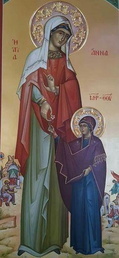 Greek Icons, Saint A, St Anne, Byzantine Icons, Orthodox Christianity, Orthodox Icons, Sacred Art, Princess Zelda, Female