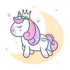 Cute princess unicorn vector on moon Pre. Unicorn Painting, Unicorn Drawing, Unicorn Art, Cute Unicorn, Cute Food Drawings, Cute Kawaii Drawings, Unicorn Wallpaper Cute, Unicornios Wallpaper, Drawing Lessons For Kids