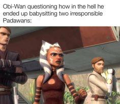 Anakin Obi Wan, Anakin X Ahsoka, Anakin Skywalker, Star Wars Clone Wars, Star Wars Art, Star Wars Jokes, Star Wars Droids, She Wolf, Ahsoka Tano
