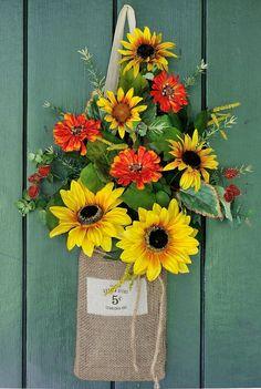 Summer Garden Stunning Sunflower and Zinnia by WillowgaleDesigns