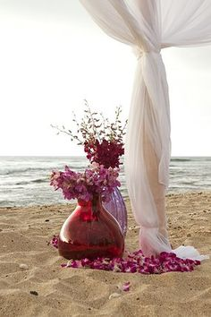 Colorful glass vases with orchids at base of tent structure- Flowers by Heidi, Four Seasons Resort Hualalai Weddings Wedding Ceremony, Reception, Wedding Day, Hawaii Wedding, Destination Wedding, Evening Dresses For Weddings, Big Island Hawaii, Bohemian Bride, Cheap Wedding Dress