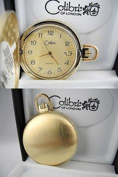 Other Pocket Watches 398: Colibri Gold Face Goldtone Pocket Watch Date Window New BUY IT NOW ONLY: $34.99
