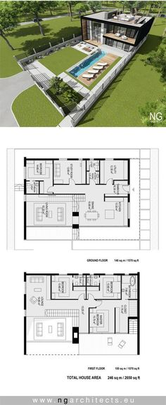 arquitectonico Modern villa Rondo designed by NG architects Villa Plan, Modern House Plans, House Floor Plans, Modern Floor Plans, Building Plans, Building A House, Building Ideas, Modern Villa Design, Casas The Sims 4