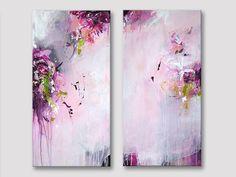 2 pièces Original peinture abstraite, art moderne, peintures acryliques, framboise rose bordeaux citron vert blanc rose peinture, A nouveau parfum