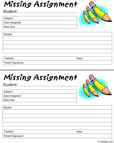 Missing Assignment documentation