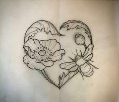 T T Honey bee and flower inside heart