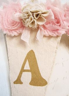 Girl Name Banner Pink and Gold Birthday Shabby Chic Nursery