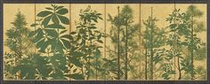 Trees Master of the I'nen Seal Sōtatsu school Japan, century Pair of six-panel folding screens Ink, colors, and gold on paper Freer Gallery of Art, [Sōtatsu: Making Waves: Trees Japanese Painting, Japanese Art, Freer Gallery, Japanese Screen, Google Art Project, Making Waves, Triptych, 17th Century, Art Google