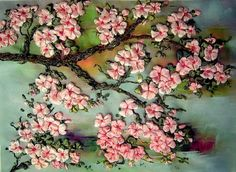 Picture 3d Silk Ribbon Embroidery Sakura Home Wall Decor Art Floral Gift Colorful Tree Spring Cherry Blossom