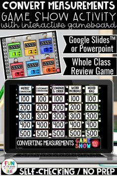 Convert Measurements game is a great math activity to review and practice converting measurements. 5th grade students will practice determining which measurement is greater or smaller as well as word problems. Students will love this math review game so much they will beg to play it! This interactive math game is a great whole class game or used in small groups! Can be used with Google Slides, PowerPoint or Keynote. Could also be used during distance learning times for engaging review!