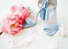 18 Spring Wedding Colors That Aren't Just Pastel- blue wedding shoes {Ashlen Sydney Photography}