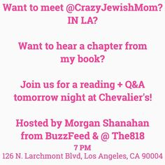 Guys! We're IN LA! Would love to meet some of you west coasters! Come hang with us hear a chapter from my book and chat with Morgan (@the818) my CJM and me tomorrow night at @Chevaliersbooks at 7PM! #mothercanyounot