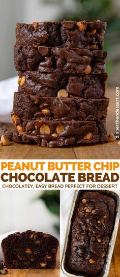 Peanut Butter Chip Bread is a rich chocolatey bread with burst of peanut butter that's perfect for breakfast or dessert!Chocolate Peanut Butter Chip Bread is a rich chocolatey bread with burst of peanut butter that's perfect for breakfast or dessert! Chocolate Banana Bread, Chocolate Peanuts, Dessert Chocolate, Chocolate Bread Machine Recipe, Quick Bread Recipes, Sweet Recipes, Baking Recipes, Dessert Simple, Low Carb Dessert