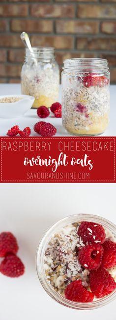 Raspberry Cheesecake Overnight Oats // found on savourandshine.com