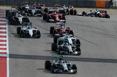 Nico Rosberg (GER) Mercedes AMG F1 W05 leads at the start of the race. Formula One World Championship, Rd17, United States Grand Prix, Race, Austin, Texas, USA, Sunday, 2 November 2014