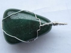 Fuchsite pendant wire wrapped in sterling silver Chainmaille, Wire Wrapped Jewelry, Wire Wrapping, Natural Stones, Sterling Silver, Pendant, Hang Tags, Pendants, Wire Wrap Jewelry