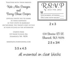 DIY Wedding invitation Rubber Stamp SET with by stampoutonline