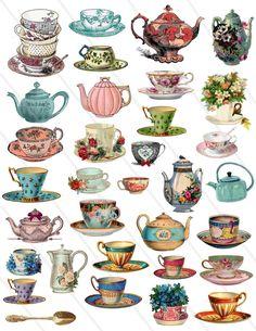 Tea Cup Drawing, Tea Cup Art, Cup Of Tea, Image Digital, Collage Sheet, Digital Collage, Alice In Wonderland, Art Reference, Art Drawings