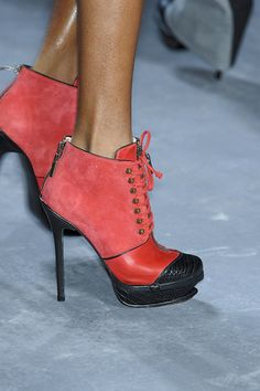 Red suede and leather ankle bootie Prabal Gurung     Image from Elle.