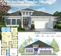 Architectural Designs Net Zero Ready House Plan 33176ZR - 2,500+ sq. ft. and 4 or 5 bedrooms - delivers a 50% savings when compared to other new homes and a 60-70% savings when compared to older homes. Ready when you are. Where do YOU want to build?