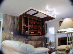 Secret Ceiling Gun Storage and Display Secret Rifle Display Cabinet – StashVault