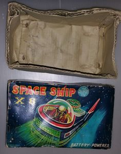 Space Ship X8 With BOX Made IN Japan Tada TIN TOY Robot '60s | eBay