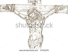 vector hand drawn illustration of Jesus Christ hanging on the cross isolated on white - stock vector Opus, Vector Hand, Halloween Art, Royalty Free Images, Retro Fashion, How To Draw Hands, Illustration, Jesus Christ, Hand Drawn